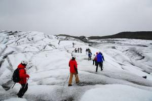 hiking on a glacier