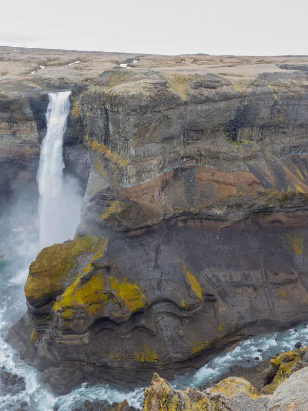 Háifoss waterfall and Granni waterfall