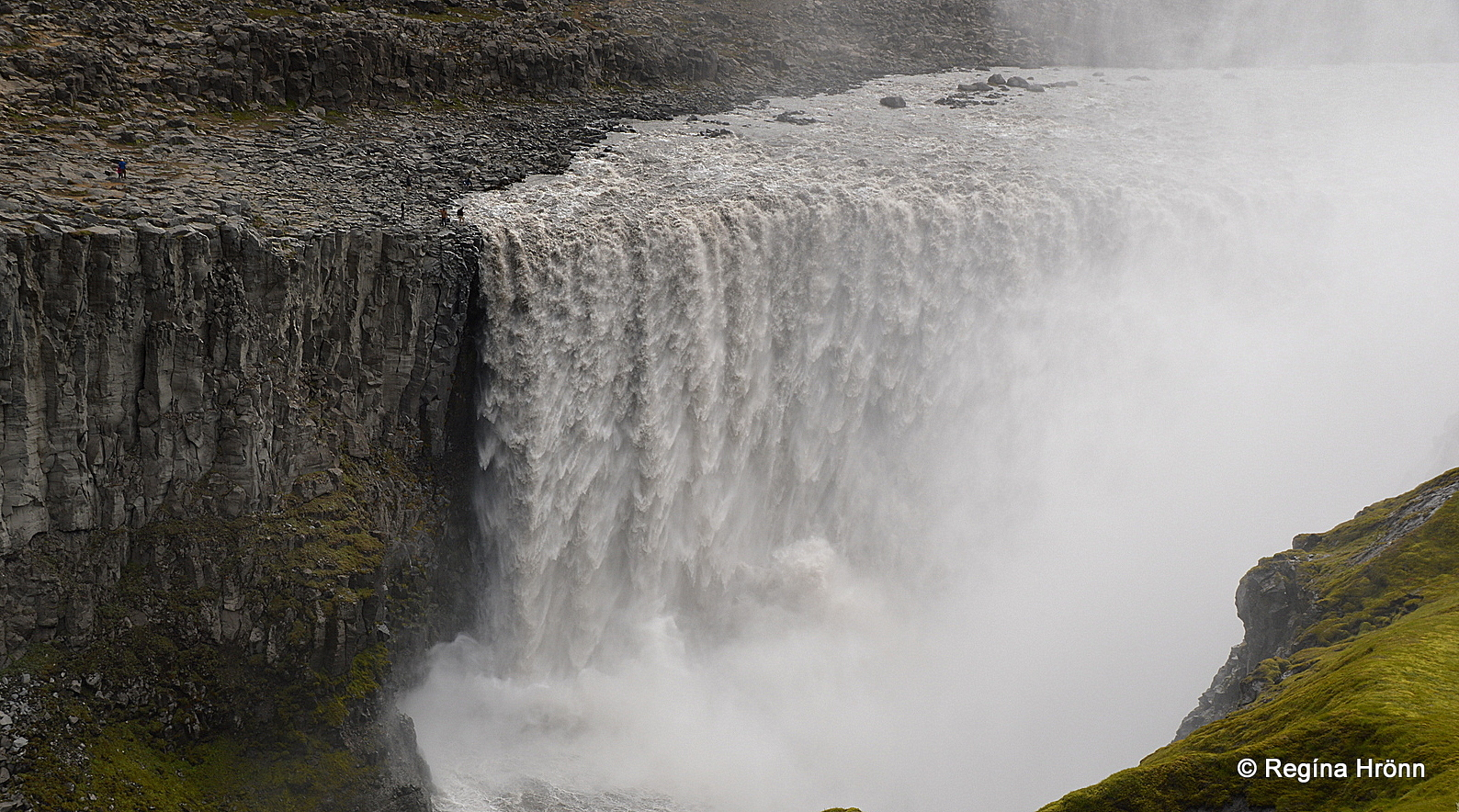 Dettifoss waterfall as seen from the observation platform on the west bank