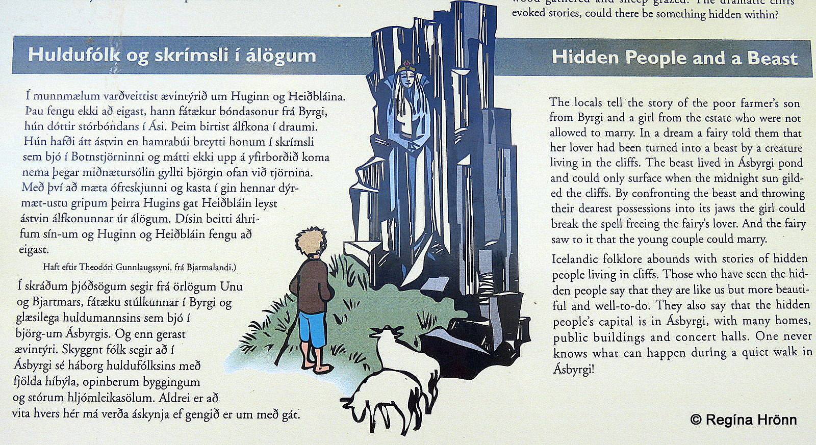 Folklore on the information sign by the parking lot leading to Botnstjörn pond
