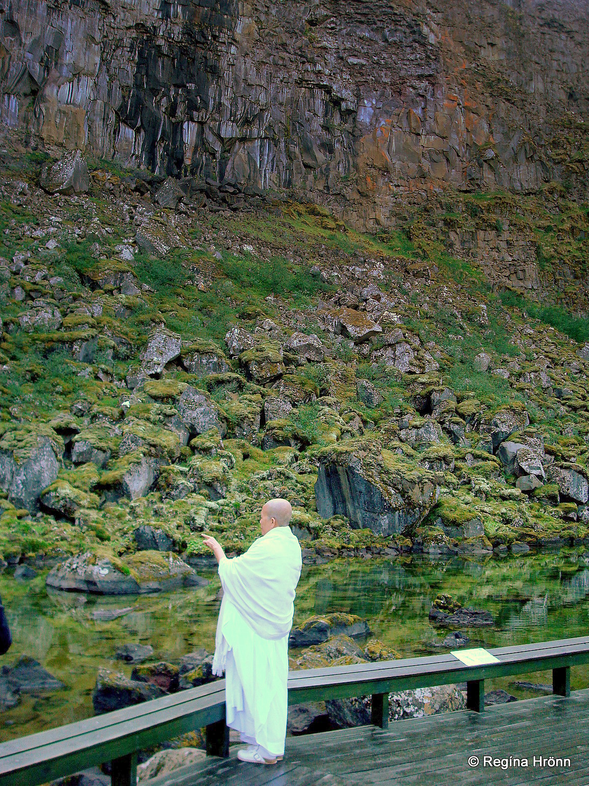 Botnstjörn pond in Ásbyrgi - a monk by the pond
