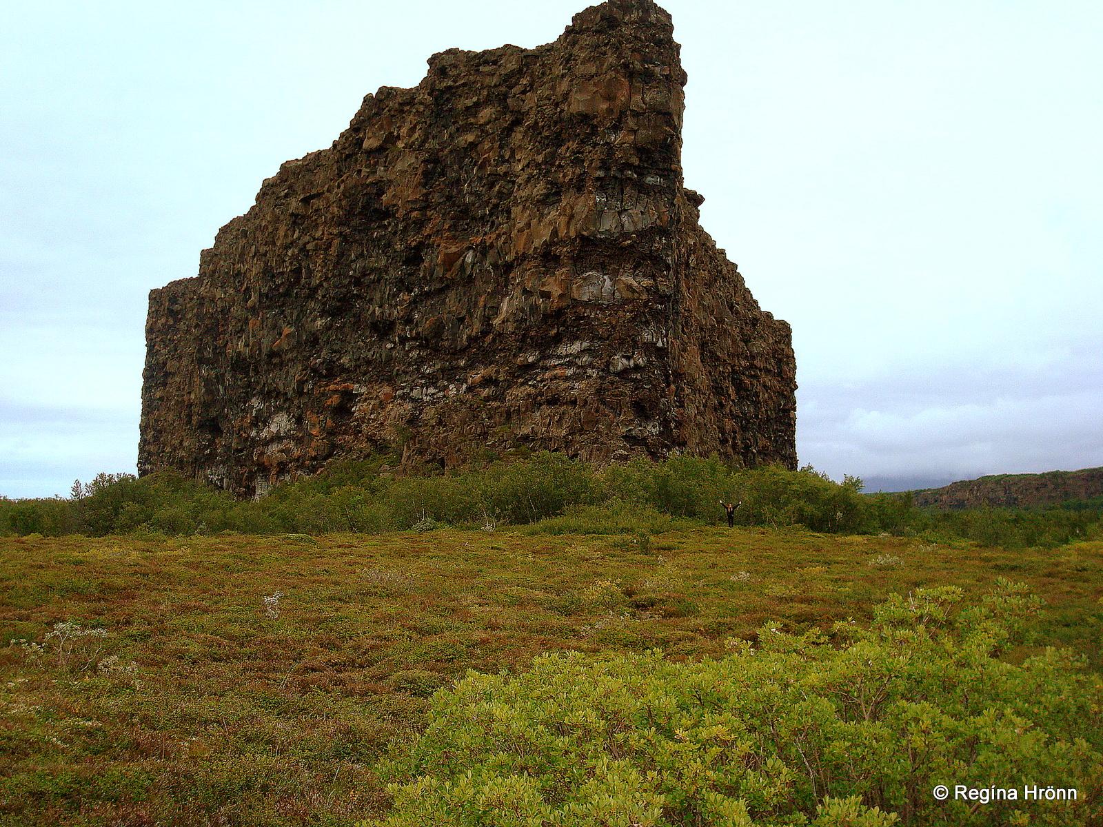 Regína beneath Eyjan cliff in Ásbyrgi
