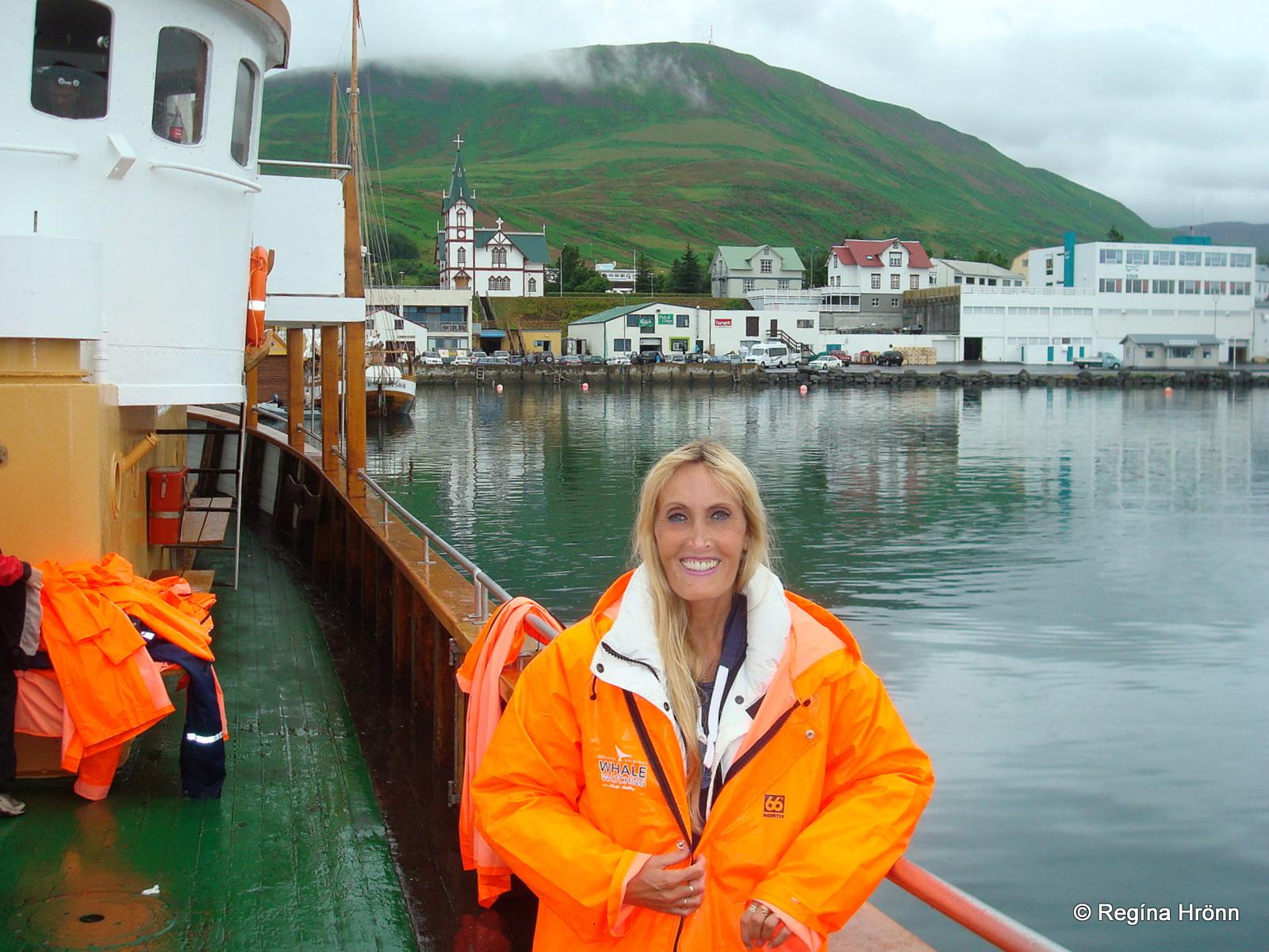 Regína on a whale watching tour from Húsavík