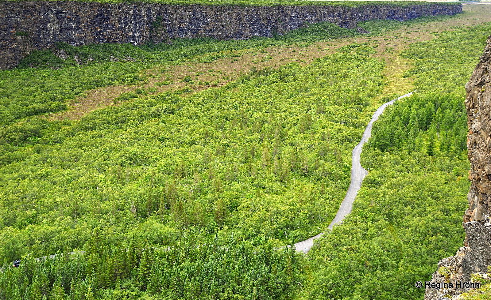 Ásbyrgi from above - Ásbyrgisvegur road 861 in NE-Iceland