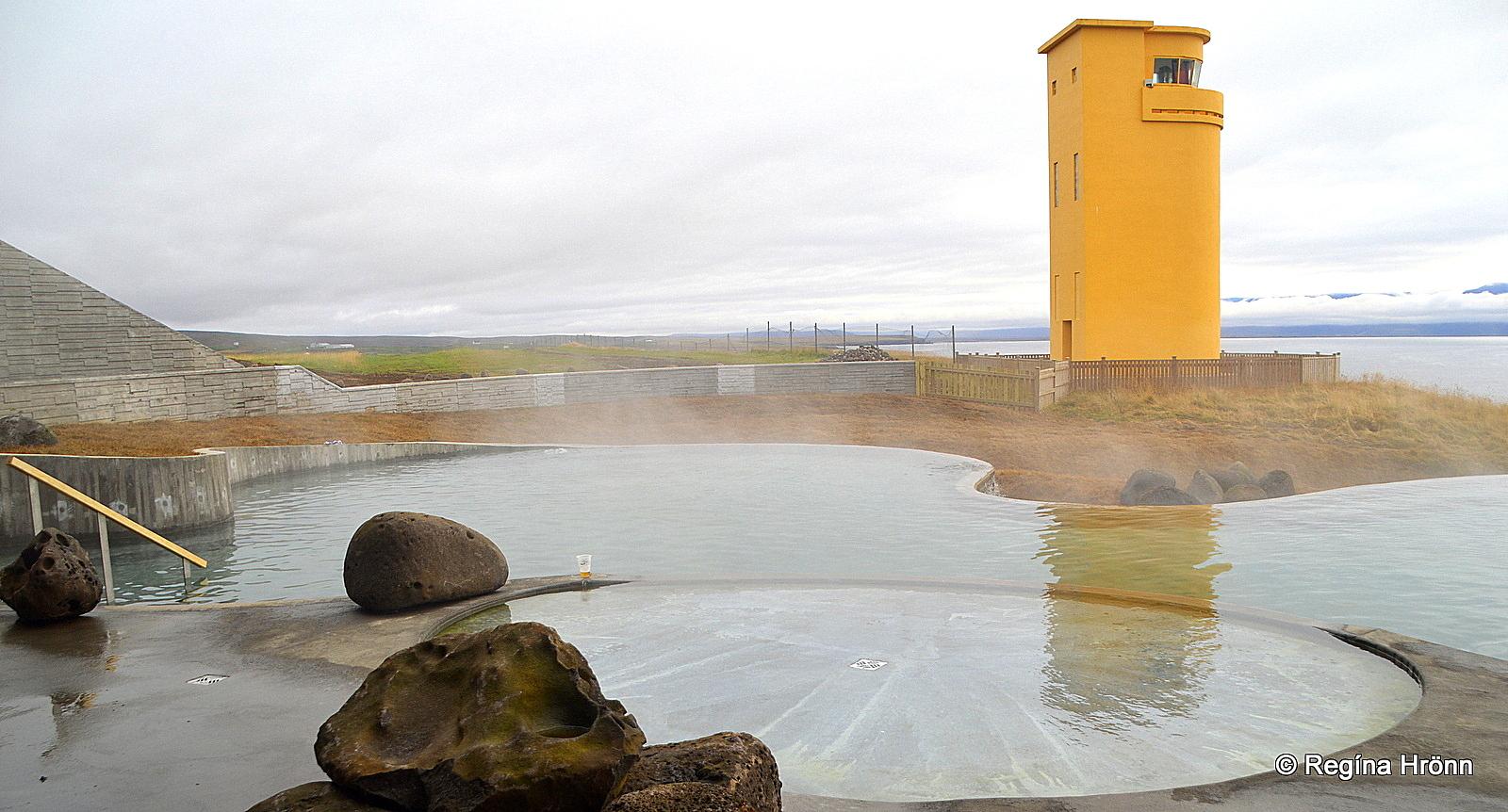 Geosea sea baths and Húsavíkurviti lighthouse in North-Iceland