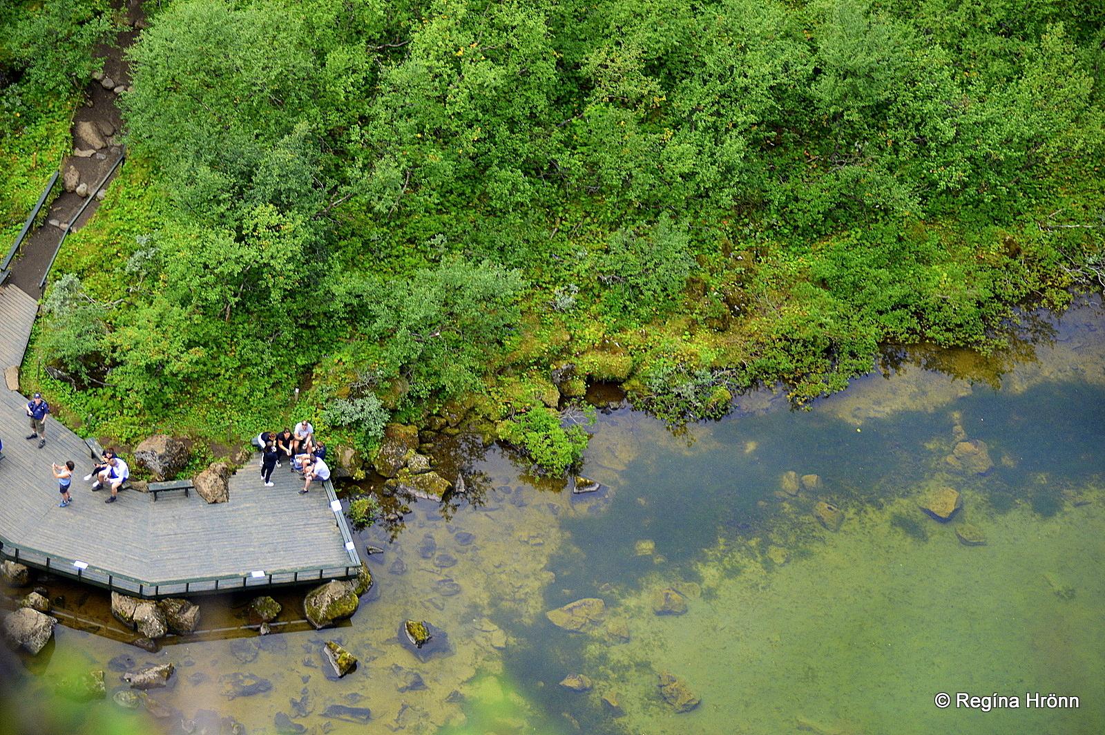 The lower observation platform at Botnstjörn pond as seen from above