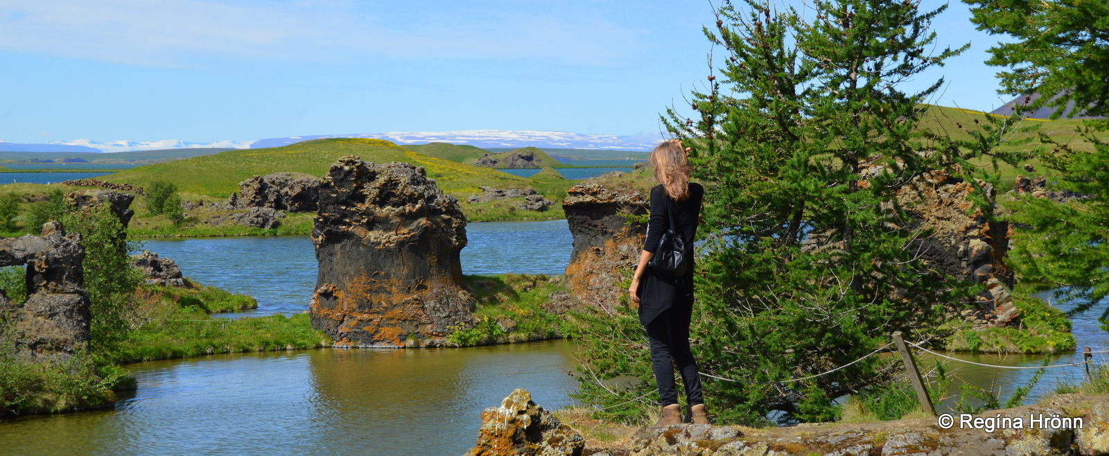 Regína at Höfði in Mývatnssveit admiring the view of Kálfastrandavogur