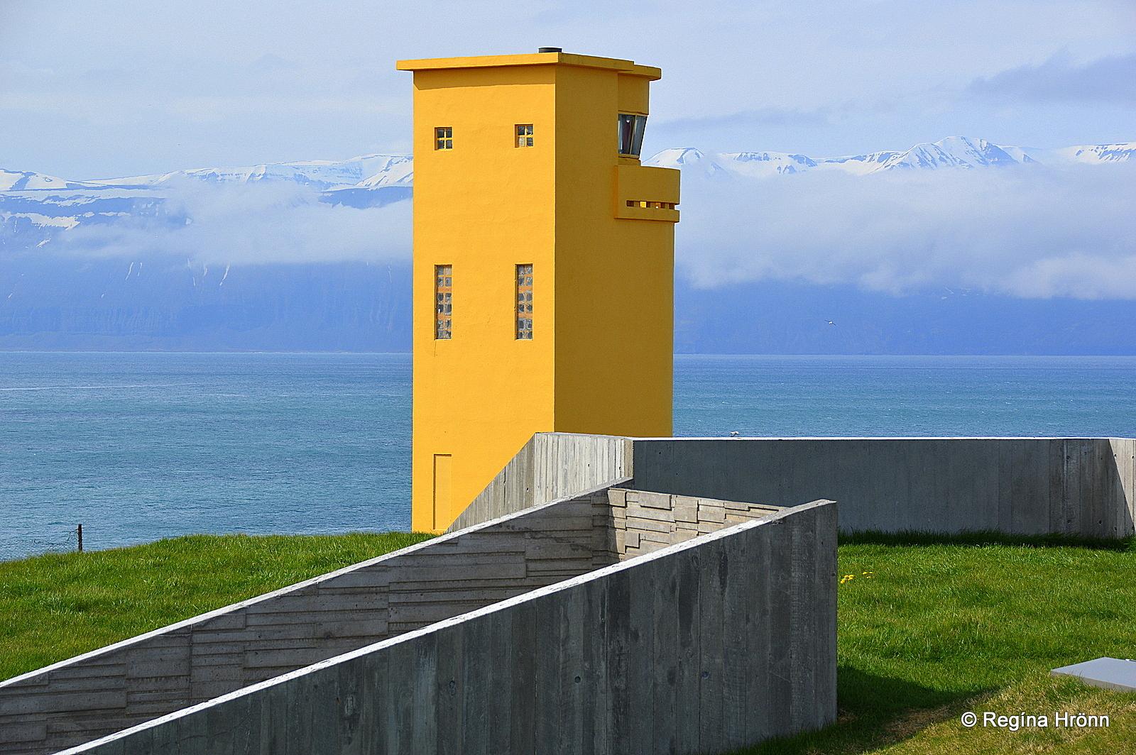 Húsavíkurviti lighthouse on Húsavíkurhöfði bay North-Iceland